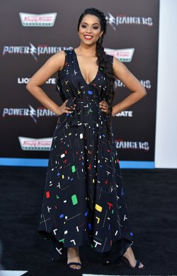Lilly Singh attends the 'Power Rangers' premiere in Los Angeles