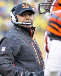 Cincinnati Bengals Coach Marvin Lewis on Sidelines in Pittsburgh
