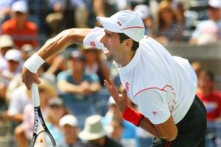 Novak Djokovic vs Benjamin Becker at the U.S. Open in New York