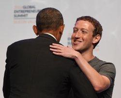President Obama greets Mark Zuckerberg at GES 2016