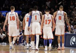 New York Knicks Steve Novak, Landry Fields, Amar'e Stoudemire, Jeremy Lin and Wilson Chandler at Madison Square Garden in New York