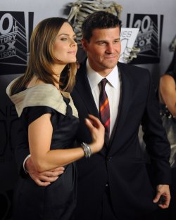 "Emily Deschanel and David Boreanaz attend the ""Bones"" 100th episode celebration in West Holywood"
