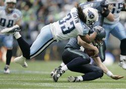 Seattle Seahawks quarterback Matt Hasselbeck gets sacked in Seattle