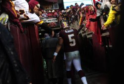 Redskins' quarterback Donovan McNabb leaves the field in Maryland