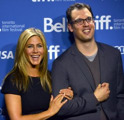 Jennifer Aniston and Daniel Schechter attend 'Life of Crime' press conference at the Toronto International Film Festival