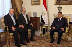 Egyptian President Mohamed Morsi meets Khalid Mashaal and Gaza's Prime Minister Ismail Haniyeh.
