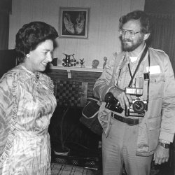Princess Margaret talks to UPI Photographer Walt Frerck in Houston, Texas