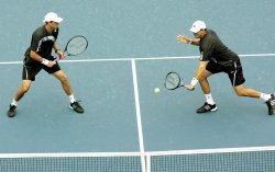 Bryan brothers compete in doubles match at the US Open Tennis Championship in New York