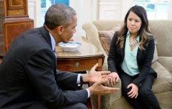President Barack Obama meets with Ebola Victim Dallas nurse Nina Pham