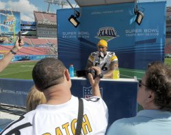 Steelers and Cardinals participate in Super Bowl XLIII Media Day in Tampa.