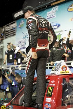 Kyle Busch wins the 2013 NASCAR Ford EcoBoost 200 Race at the Homestead-Miami Speedway in Homestead, Florida
