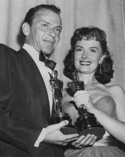 Frank Sinatra and Donna Reed Hold Their Oscars