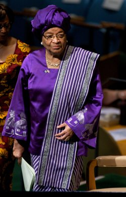 Liberia President Ellen Johnson-Sirleaf addresses the 67th session of the General Assembly at the United Nations