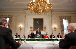 Obama Meets With President's Economic Recovery Advisory Board in Washington