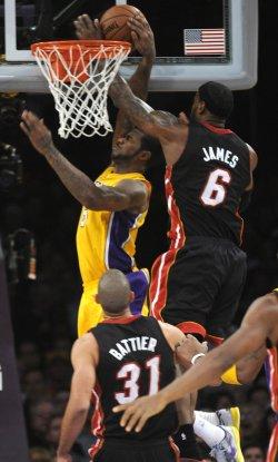 Los Angeles Lakers play Miami Heat in Los Angeles