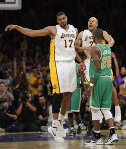 Los Angeles Lakers play Boston Celtics t in Los Angeles