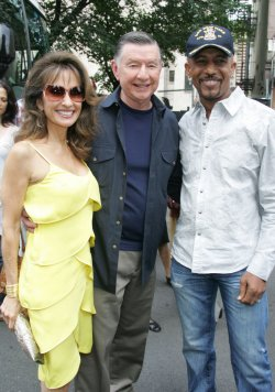 "Susan Lucci, Larry Jones and Montel Williams arrive for the Feed the Children/""Daytime Gives Back"" project in New York"