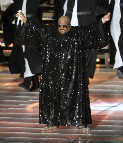 Cee Lo Green perform during halftime of the Super Bowl