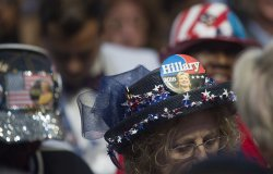 Hillary hats worn by delegates at the DNC convention in Philadelphia