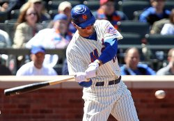 New York Mets Jeff Francoeur hits a double at Citi Field in New York