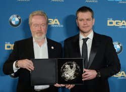 Ridley Scott and Matt Damon appear backstage at the 68th annual Directors Guild of America Awards