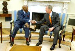 President George W. Bush meets with President Abdoulaye Wade of Senegal