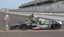 Tony Kanaan celebrates first Indianapolis 500 win at the Indianapolis Motor Speedway