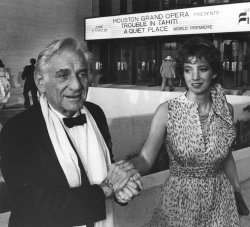 "Composer Leonard Bernstein with daughter Jammie at Jones Hall for world premiere of opera ""A Quiet Place"""