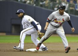 Cardinals' Rafael Furcal steals second in game 6 of NLCS in Milwaukee, Wisconsin