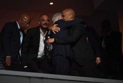 Former President Bill Clinton and Sen. Cory Booker in VIP area at the DNC in Philadelphia