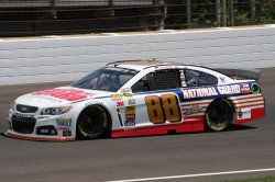 Dale Earnhardt Jr practices for the Brickyard 400 at the Indianapolis Motor Speedway