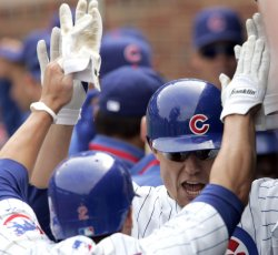 Cubs Baker is Congratulated by Teammates After Two Run Home Run Against Brewers