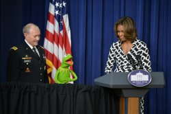 Kermit the Frog and First Lady Michelle Obama in Washington, D.C.