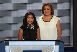 Karla Ortiz and her undocumented mother, Francisca, speaking at the DNC in Philadelphia
