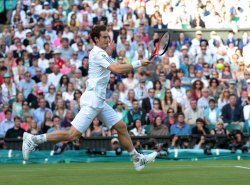 Andy Murray returns in his match with Fernando Verdasco