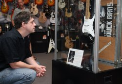 "ERIC CLAPTON'S ""BLACKIE"" ""GIBSON 335"" AND STEVIE RAY VAUGHAN'S ""LENNY"" GUITARS ARE SHOWN IN CHICAGO"