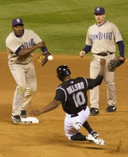 Padres Shortstop Tejada Completes Double Play to End Game Against the Rockies in Denver