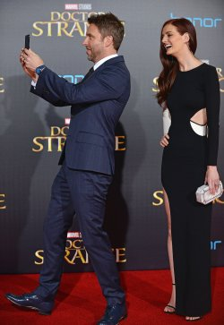 Chris Hardwick and Lydia Hearst attend 'Doctor Strange' premiere