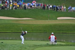 Anthony Kim hits at the US Open in Maryland