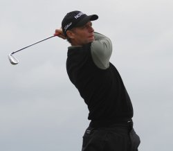 Anders Hansen tees off on the 6th hole during the Open Championship in England.