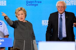 Hillary Clinton and Bernie Sanders in Durham, New Hampshire
