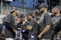 Astros celebrate in the ALCS