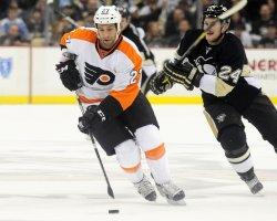 Philadelphia Flyers Maxime Talbot Breaks Away in Pittsburgh