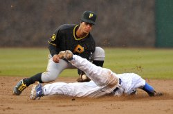 Pirates Cedeno tags out Cubs Barney in Chicago