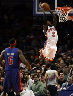 New York Knicks Nate Robinson dunks at Madison Square Garden in New York