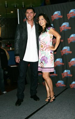 Ming-Na and Lou Diamond Phillips Handprint Ceremony at Planet Hollywood in New York