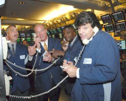 1980'S NEW YORK JETS DEFENSIVE LINE HONORED AT AMERICAN STOCK EXCHANGE IN NEW YORK