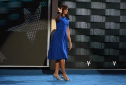 First lady Michelle Obama speaking at the DNC in Philadelphia