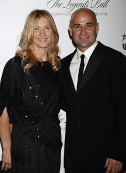 Steffi Graf and Andre Agassi arrive for the Tennis Legends Ball in New York