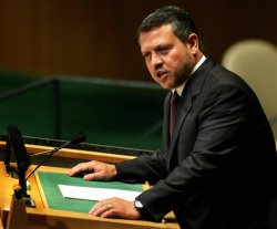 JORDANIAN KING HUSSEIN ADDRESSES THE GENERAL ASSEMBLY AT THE UNITED NATIONS